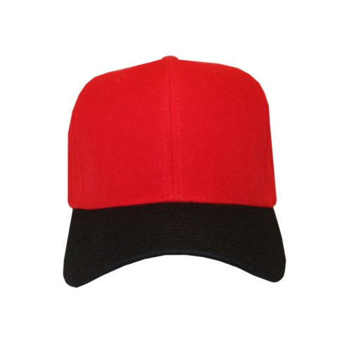 Comfortable Stylish two tone Blank (colored) Velcro-Back Baseball Cap- Red and Black