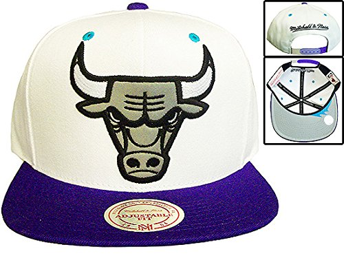 Chicago Bulls Mitchell & Ness Logo Grape 5's White Purple Snapback Hat Cap