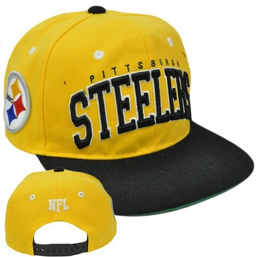 NFL Team Apparel SB400 Pittsburgh Steelers Flat Bill Snapback Football Cap Hat