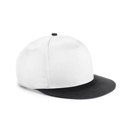 Beechfield Youth Unisex Retro Snapback Cap (One Size (12-16 Years)) (White/ Black)