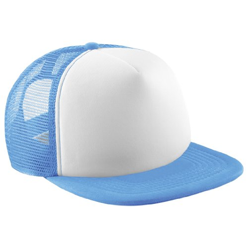 Beechfield Vintage Plain Snap-Back Trucker Cap (One Size) (Sky Blue/White)