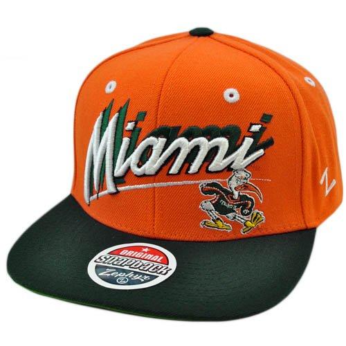 NCAA Miami Hurricanes Canes Flat Bill Logo Zephyr Orange Green Snapback Hat Cap