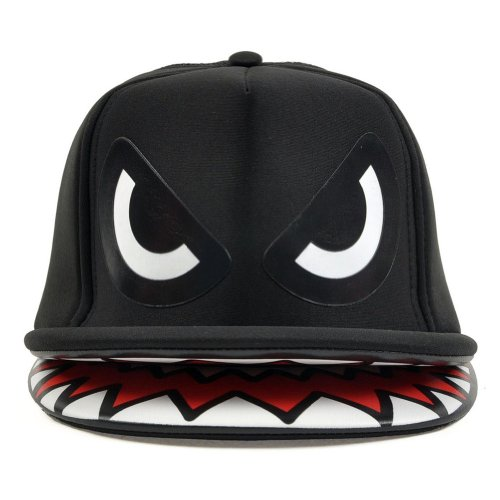 LOCOMO Shark Mouth Teeth Double Brim Trucker Hat Snapback Cap Black FFH040BLK