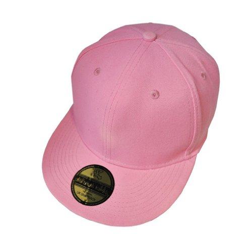 Plain Pink Flat Peak Snapback Baseball Cap