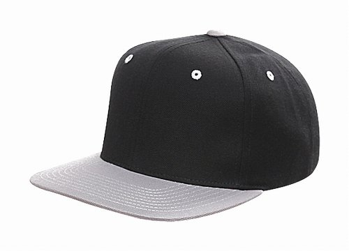 Original Yupoong Two-Tone Pro-Style Wool Blend Snapback Snap Back Blank Hat Baseball Cap 6098MT Black,Silver