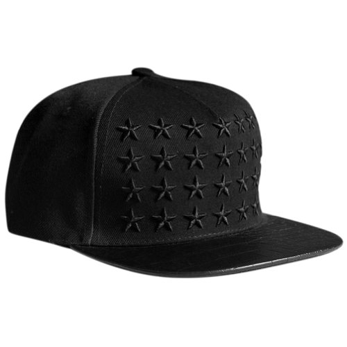 LOCOMO Star Embroidery PU Leather Crocodile Skin Pattern Snapbackn baseball Cap FFH134BLK