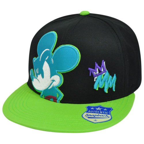 Disney Mickey Mouse Neon Mean Gangster1928 Flat Bill Two Tone Snapback Hat Cap