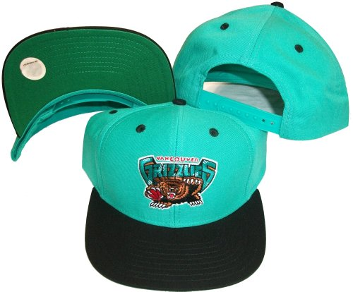 Vancouver Grizzlies Teal/Black Two Tone Snapback Adjustable Plastic Snap Back Hat / Cap