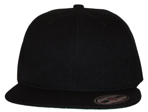 Kid's Youth Black / Red Flat Bill Snapback Hat - Hip Hop Baseball Cap (Solid Black)