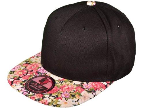 Wholesale Cotton Blank Flat Bill Floral Snapback Hats (Black/Flower Brim)