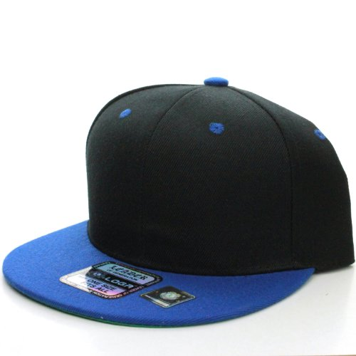 L.O.G.A. Plain Adjustable Snapback Hats Caps (Many Colors). (One Size, Black Royal)