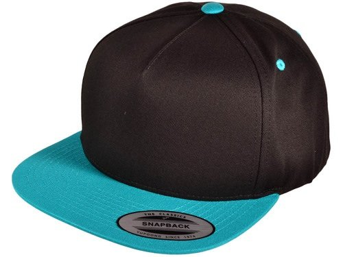 Flat Bill Blank Snapback Hats (Black/ Teal)