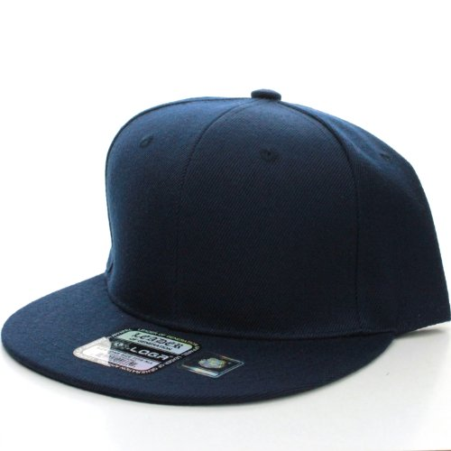 L.O.G.A. Plain Adjustable Snapback Baseball Caps (Many Colors). (One Size, Navy)