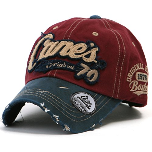 ililily Distressed Vintage Pre-curved Cotton embroidered logo Baseball Cap with Adjustable Strap Snapback Trucker Hat - 507-2