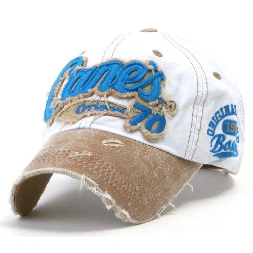 ililily Distressed Vintage Pre-curved Cotton embroidered logo Baseball Cap with Adjustable Strap Snapback Trucker Hat - 507-9,White, Medium Size (Adjustable) 7 1/8 - 7 1/4