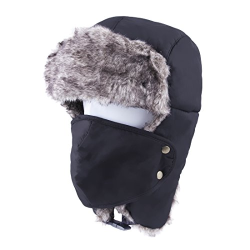 JINIU Unisex Winter Trooper Hunting Hat Ear Flap Chin Strap Windproof Mask BLACK