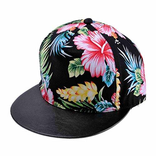 ZLYC Women's 2014 Flatbill Visor Snapback Baseball Hat Floral Print Neon Sign (Black)