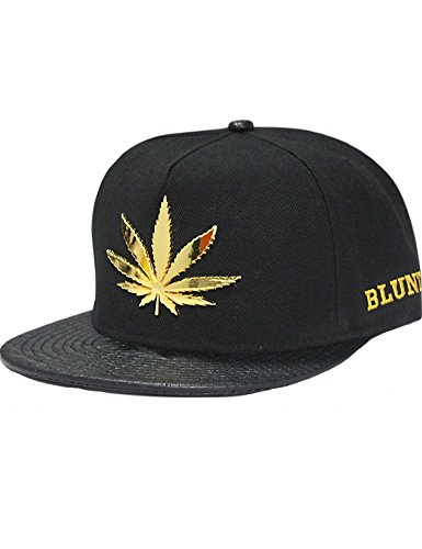 SSLR Men's Adjustable Leaf Shape Studded Flat Bill Caps (One Size (7 1/8-7 3/8), Black)