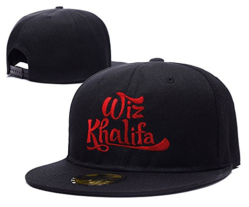 Wiz Khalifa Logo Adjustable Snapback Caps Embroidery Hats - Black/Red