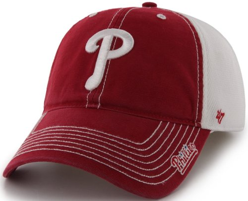 MLB Philadelphia Phillies '47 Brand Ripley Stretch Fit Cap (Red, One Size)