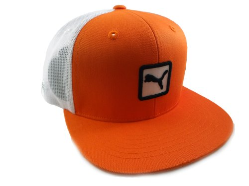 Puma Men's Cat Patch Snap Back Trucker Hat, Vibrant Orange, One Size Fits All