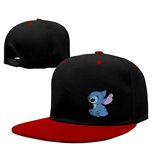 Custom Lilo Stitch Line Hiphop Cap Baseball Hat Snapback 100% Cotton Male/Female Red