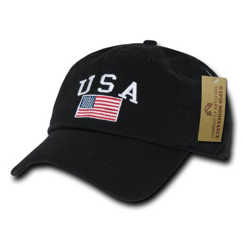 Rapiddominance Polo Style USA Cap, Black