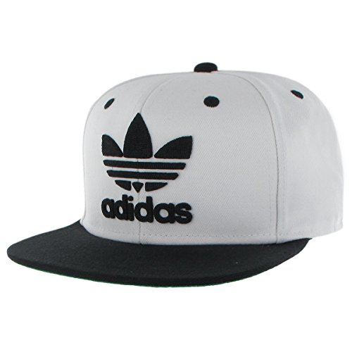 adidas Men's Originals Snapback Flat Brim Cap, White/Black, One Size