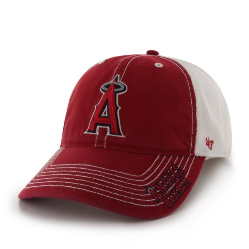 MLB Los Angeles Angels '47 Brand Ripley Stretch Fit Cap (Red, One Size)