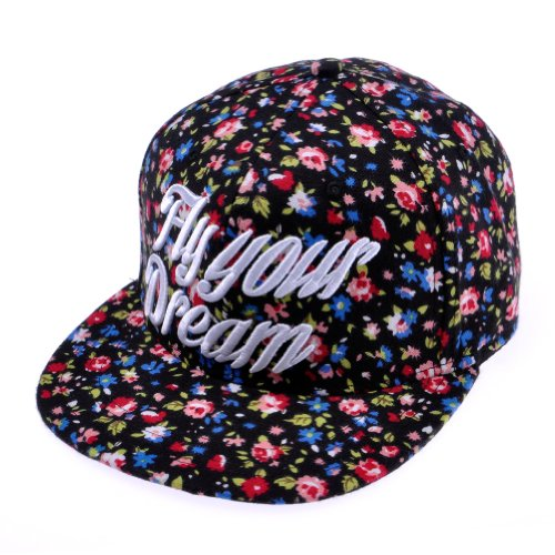 Zlyc Women's 2014 New Fly Your Dream Floral Flower Pattern Flatbill Adjust Baseball Hat with Embroider Words (black)