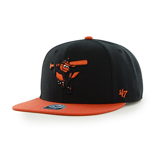 MLB Baltimore Orioles Sure Shot Two Tone Captain Wool Adjustable Hat, One Size, Black