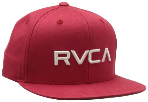RVCA Boys 8-20 Twill Snapback Baseball Cap, Pompei Red, One Size