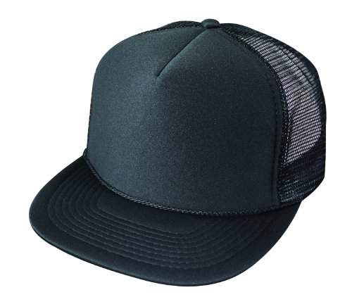 Flat Billed Trucker Cap With Mesh Back in Black