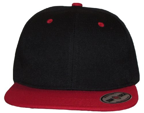 Kid's Youth Black / Red Flat Bill Snapback Hat - Hip Hop Baseball Cap (Black/Red)