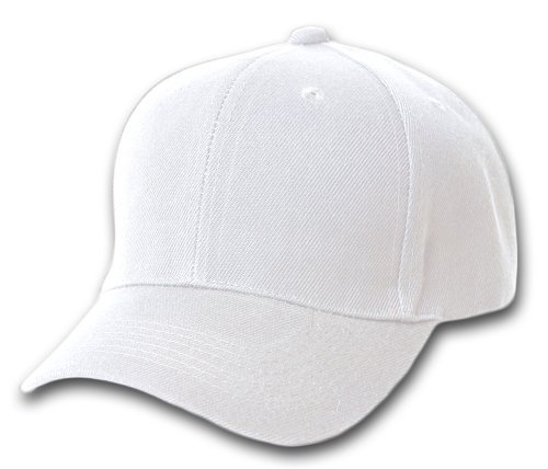 Blank / Plain Adjustable Velcro Baseball Cap / Hat - White