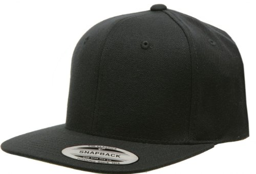 Original Yupoong Pro-Style Wool Blend Snapback Snap Back Blank Hat Baseball Cap 6098M - Black