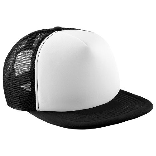 Beechfield Vintage Plain Snapback cap, Trucker Cap (One Size) (Black/White)