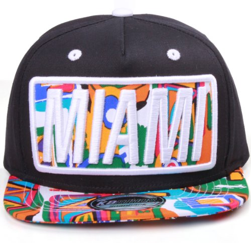 Miami Flat Visor Bill Aztec Print Snapback Hat Cap (One Size, Black White)