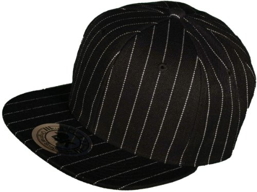 Wholesale Flat Bill Blank/Plain Pinstripe Snapback Hats( Black/White Stripe)
