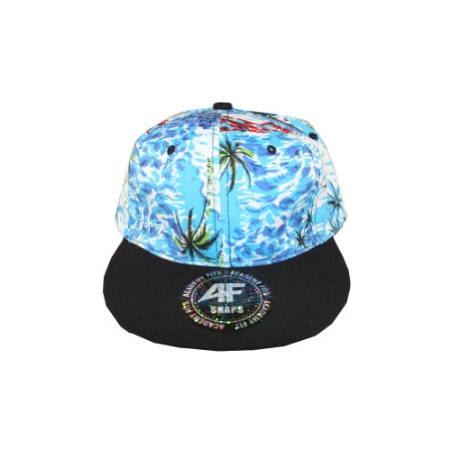 Vintage Baby blue green red blue ocean Crown Black Lid Brim snapback hat