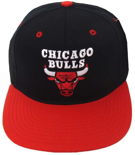 NBA Chicago Bulls Snapback Cotton Hat Cap - Black / Red Bill