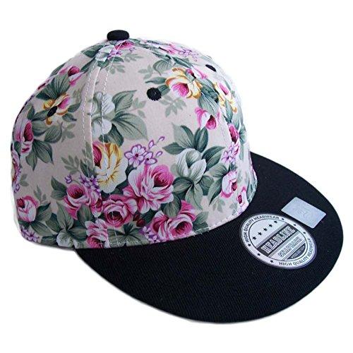 Child Floral Flower Hawaiian Snapback Baseball Cap Pink Black