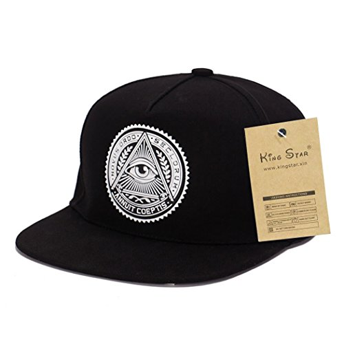 King Star Men Solid Flat Bill Hip Hop Snapback Baseball Cap Eye-Black
