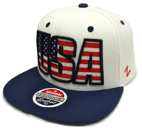 Zephyr Backdrop U.S.A. White & Navy Snapback