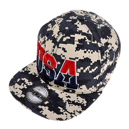 ZLYC Women 2014 US Flag Design 4th of July Flatbill Adjust Casual Baseball Hat (Camo)