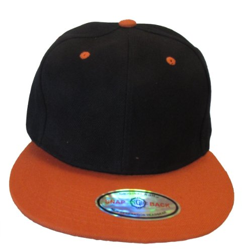Kid's Youth Flat Bill Snapback Hat - Hip Hop Baseball Cap (Black/Orange)