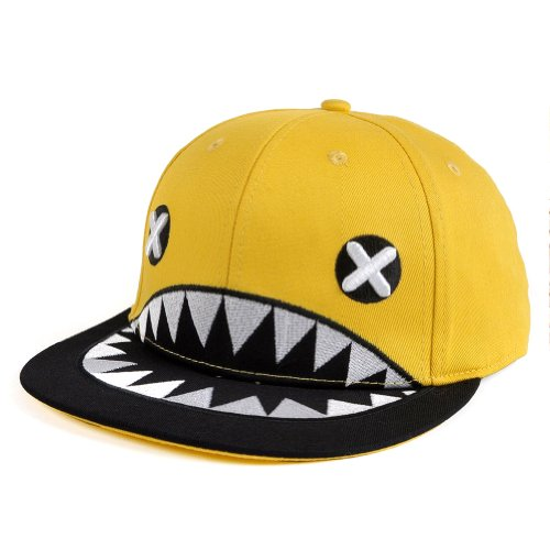 LOCOMO Embroidered Cross Eye Shark Mouth Teeth Baseball Cap Yellow FFH061YEL