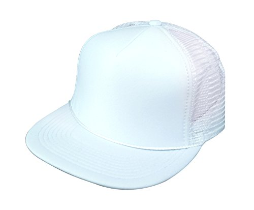Classic 5 Panel Retro Flat Bill Blank Mesh Trucker Snapback Hat Hats Cap Caps (5FBC 016 WHITE)