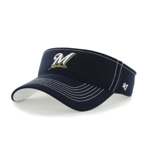 MLB Milwaukee Brewers '47 Brand Defiance Visor, One Size, Navy