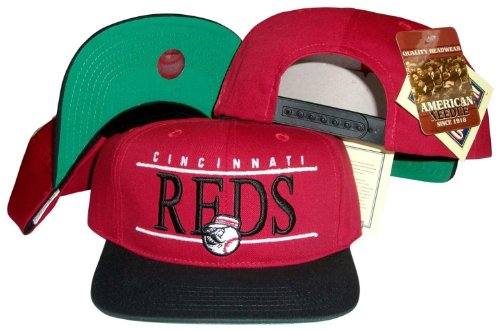 Cincinnati Reds Red/black Two Tone Snapback Adjustable Plastic Snap Back Hat / Cap